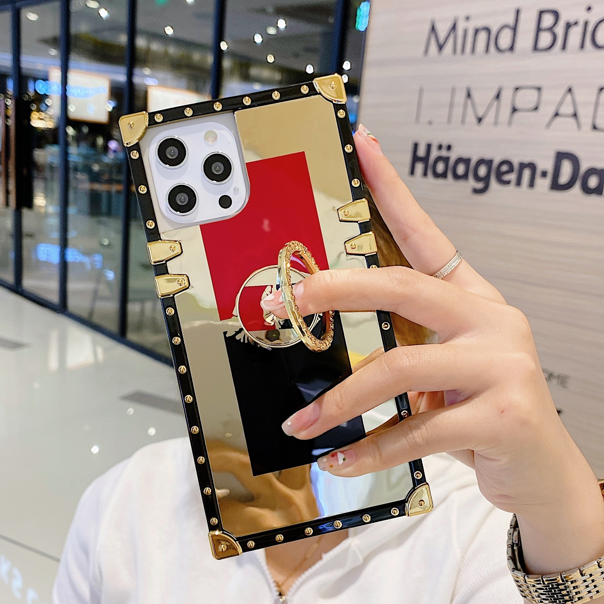 Luxury Gold Glitter Lipstick Case for iPhone 12 Mini 11 Pro Max XR X XS Max 8 7Plus Diamond ring holder Women Black Square Cover enlarge