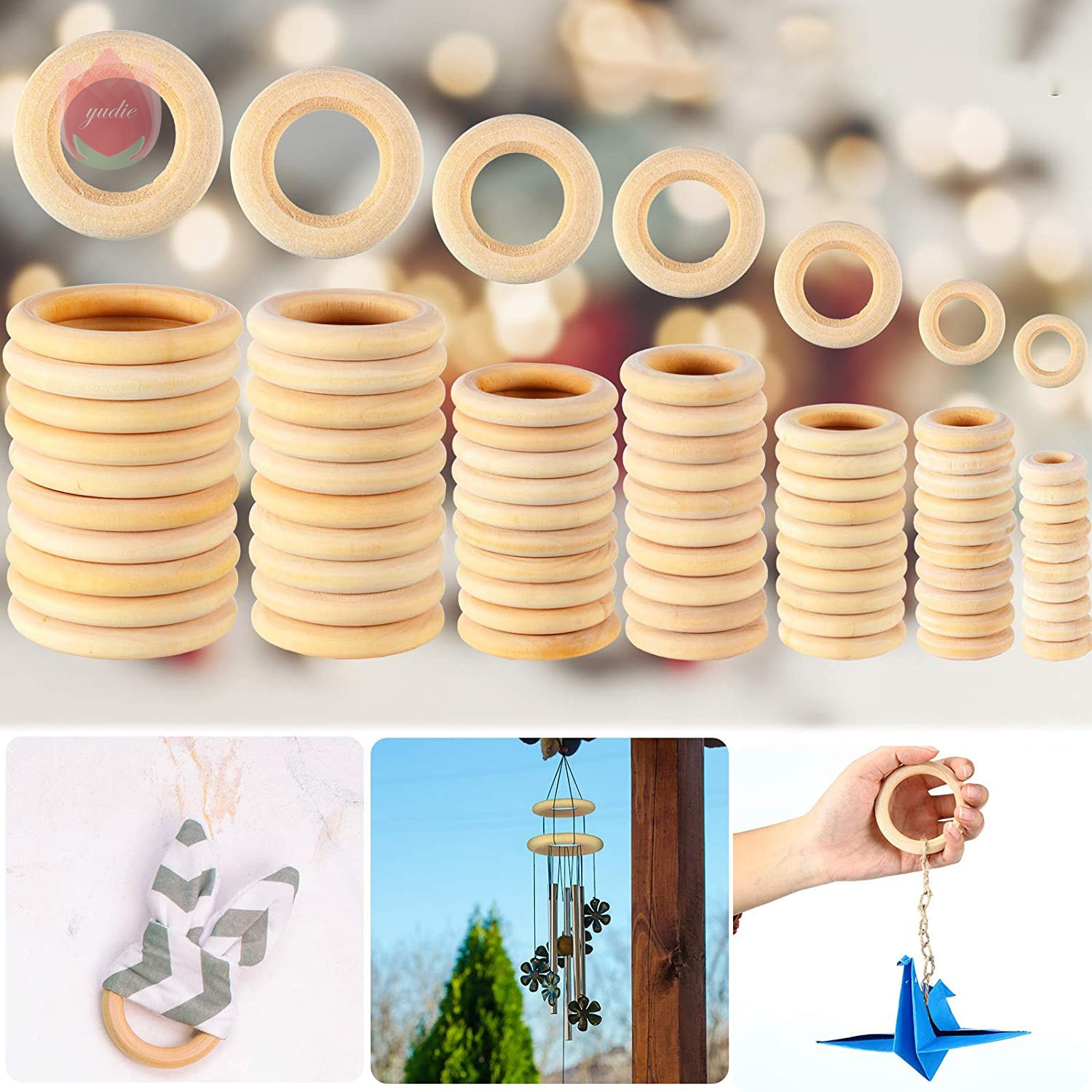 AliExpress - 5pcs/Lot Natural Wood Circle DIY Crafts For Jewelry Making Baby Ring Kids Home Party Decoration Wooden Toy Ornaments Accessories