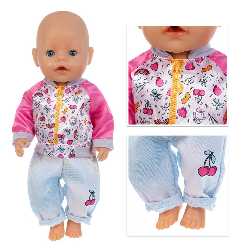 Baby New Born Fit 17 inch 43cm Doll Clothes Accessories Cherry jacket Jeans Clothes For Baby Birthda