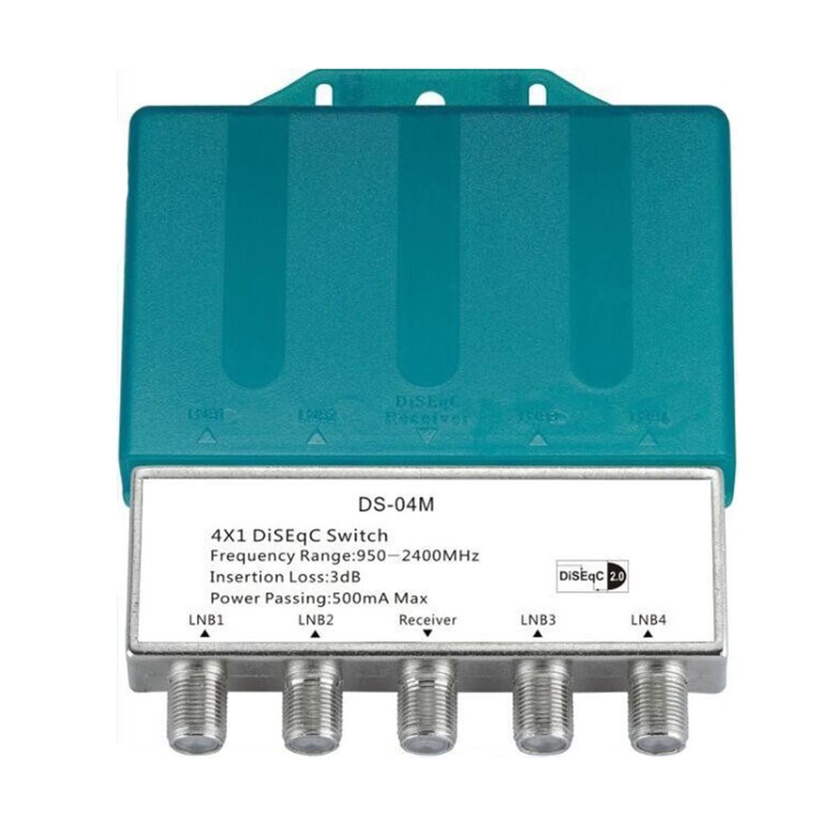 LEORY DS-04M 4x1 DiSEqC 2,0 4 en 1 con interruptor de cubierta de lluvia satélite LNBF Dish Multiswitch para receptor FTA