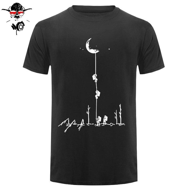 Estilo europeu t camisas homens verão moda subir à lua impresso tshirt casual manga curta o-pescoço camiseta