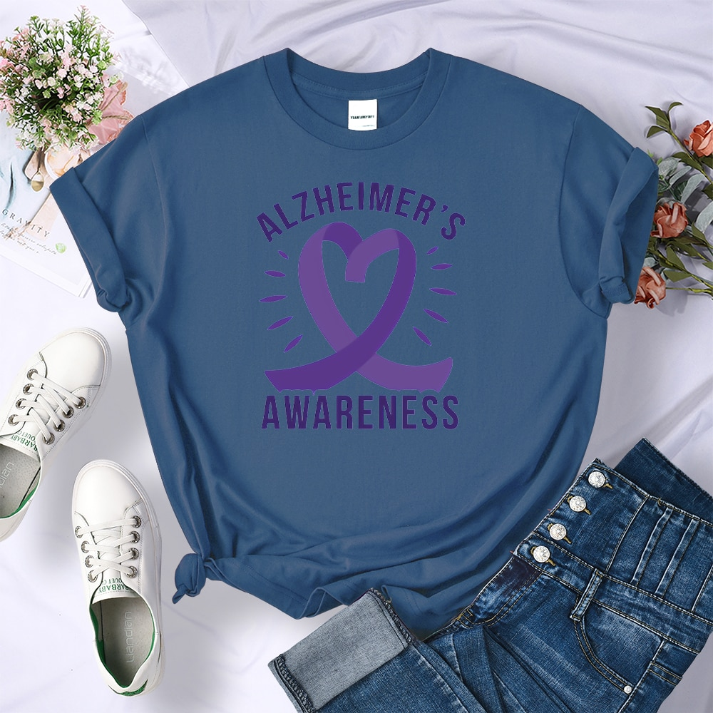 Alzheimers Awareness Prints Female Tshirts Fashion Summer Short Sleeve Fit Crewneck Tshirt Casual Sports Style T Shirts Woman
