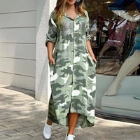 camouflage print shirt dress women single breasted button beach 2021 spring long dress sexy turn down collar sequin pocket dress