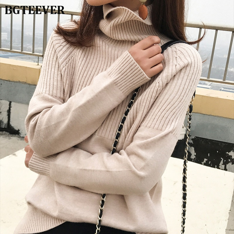 BGTEEVER, винтажные утолщенные полосатые женские свитера, Осень-зима, водолазка, пуловеры, джемперы, женские корейские вязаные топы, femme 2019