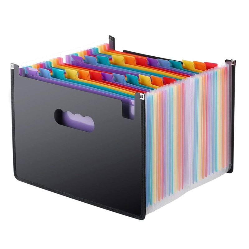 13/24 Pockets Expanding File Folder Works Accordion Office A4 Document Organizer Standing Accordions Folder for Documents Busine