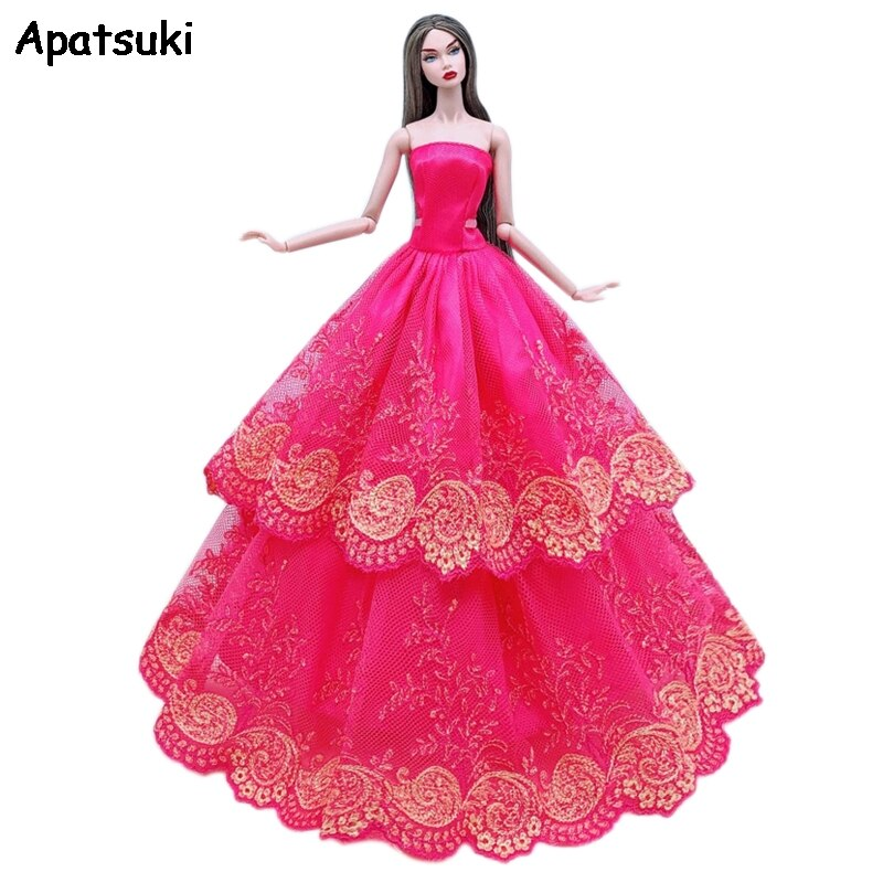 Red Lace Floral Wedding Dress For Barbie Doll Clothes Multi-layer Outfits Party Gown For 1/6 BJD Dolls Accessories Kids Toys
