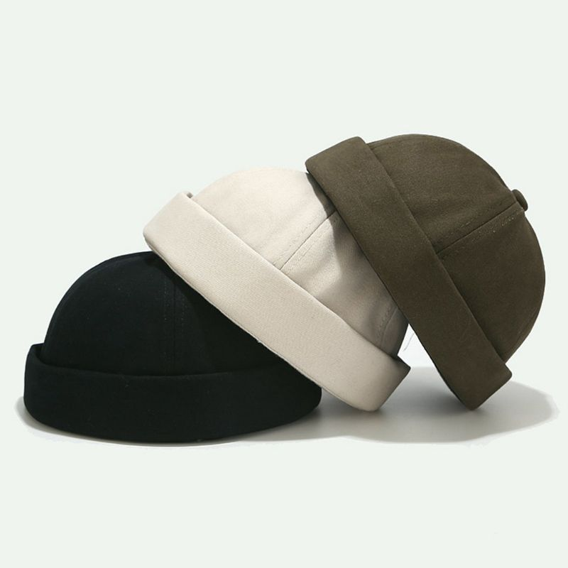 Unisex retro cúpula melão sem brimless gorro boné cor sólida tendência yuppies docker hat  THINKTHENDO