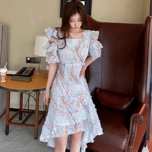 Luxury Elegant Party Dress Women Floral Embroidery Mini Dress Plus Size High Waist Runway Dress Summer Square Collar Blue B973