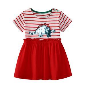 European And American Style Summer Children's Clothing Girls Beading Dinosaur Cartoon Pattern Striped  Short-sleeved Kids Dress