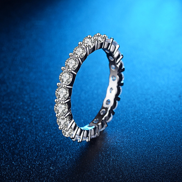 925 Sterling Silver Ring Full Circle Zircon Rings for Women Wedding Rings Silver 925 Jewelry Ring