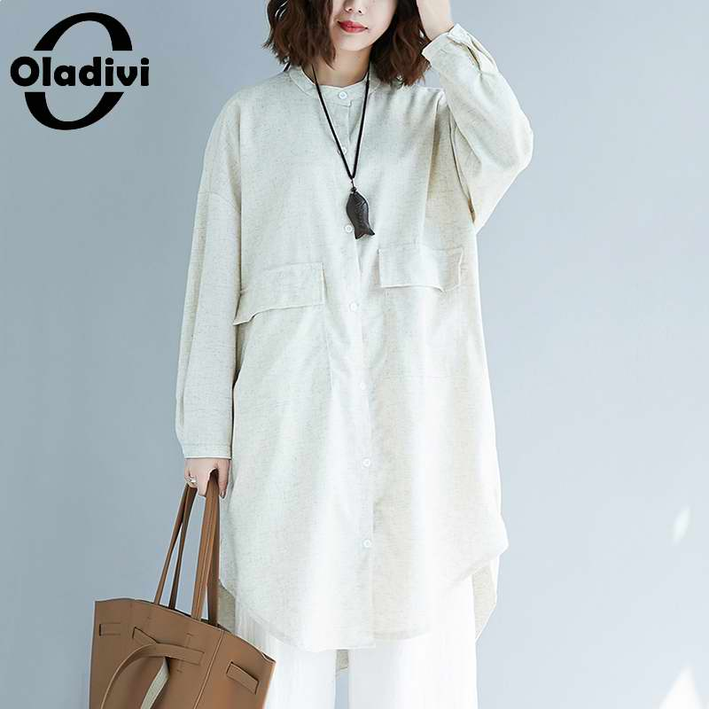 Oladivi المتضخم طويلة الأكمام القطن قميص كتان المرأة 2021 ربيع الخريف جديد وصول بلوزات غير رسمية الصلبة بلايز 3XL 4XL 5XL 6XL