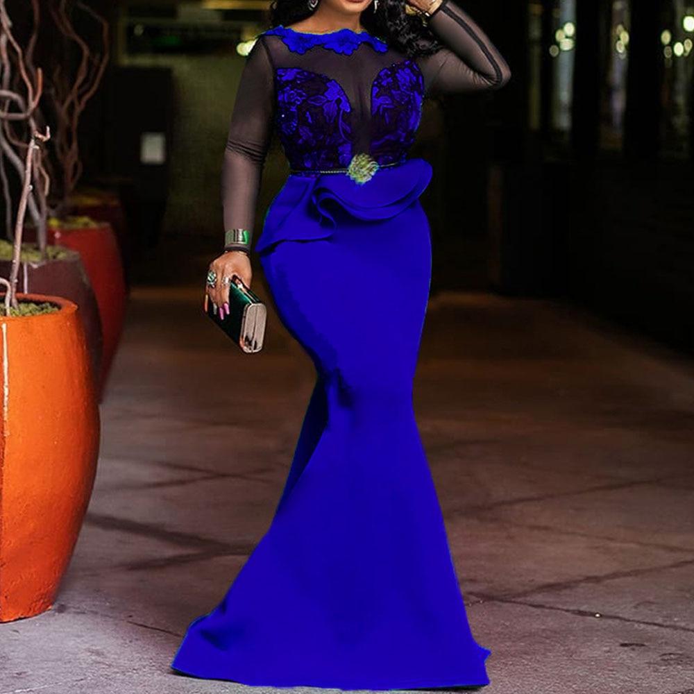 Azul real feminino longo maxi vestidos elegante festa de renda jantar sereia trompete africano babados falbala femme vestido de robe