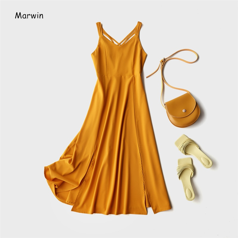 Marwin, novedad de 2020, para verano, vestido de vacaciones, tira de espagueti cruzada, Espalda descubierta, sólido, estilo de playa, vestidos de mujer a la altura del tobillo