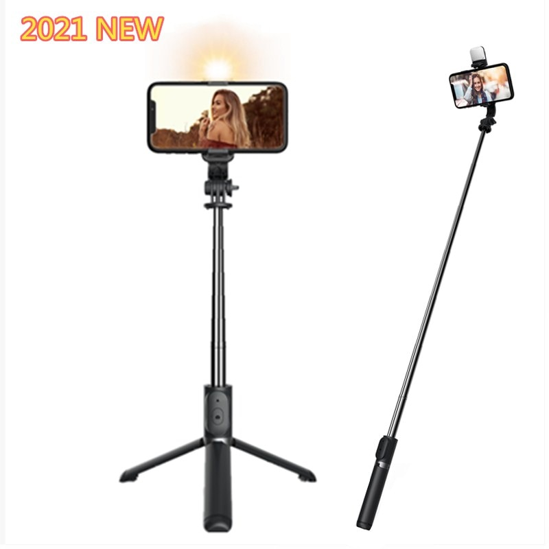 Roreta 2021 NEW 4 in 1 Wireless Bluetooth Selfie Stick With Tripod Foldable monopods universal for Smartphone Hot