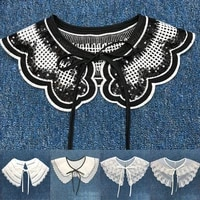 white black blouse shirt doll collar dress embroidered women lace detachable fake collar accessories fashion clothes fake collar