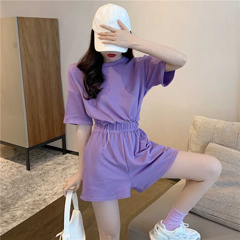 Fashion Suit 2021 New Women's Clothing Summer Loose Crop Top + Wide Leg Shorts Casual Sports Two-Pie