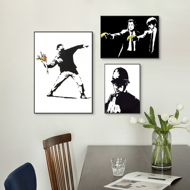 Banksy Graffiti Artwork Canvas Painting Girl With Red Balloon Poster Black White Abstract Wall Pictures for Nordic Home Decor 6