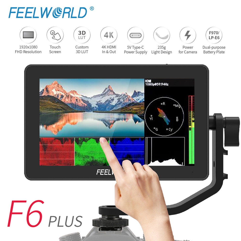 FEELWORLD Waveform Vectorscope Type-C 3D-LUT Touch-Screen Camera Dslr-Field-Monitor Video-Focus F6-Plus 4K 1920x1080 HDMI