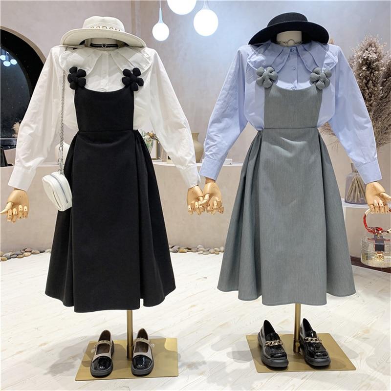 ملابس نسائية جديدة 2021 الخريف دمية طوق قميص بأكمام طويلة قميص علوي + الحمالة فستان بكتافة موضة قطعتين مجموعة