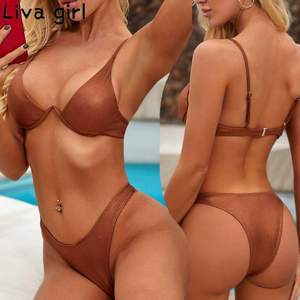 Liva girl Women brown Leather Bikinis Set Two Piece Swimsuit Push-Up Padded Beachwear Bathing Bathing Suits Biquini Swimwear 20
