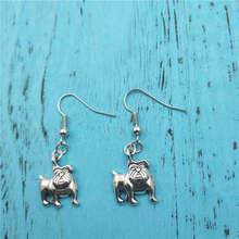 Bulldog Animal Charm Creative Earrings,Vintage Fashion Jewelry Women Christmas Birthday Gifts Access