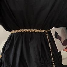 Women's Pearl Waist Chain Vintage Dress with Fashionable Elegant Hanfu Metallic Belt Decoration