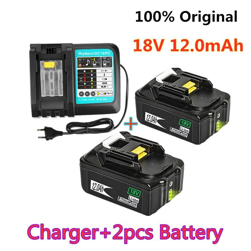 18V 12.0Ah akumulator Battery12000mAh Li-Ion bateria zastępcza do elektronarzędzi bateria do narzędzi MAKITA BL1880 BL1860 BL1830 + 3A ładowarka