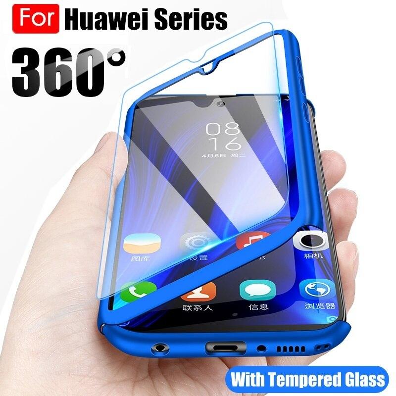 360 volle Körper Telefon Fall für Huawei P40 P30 P20 Lite Pro Y5 Y6 Y7 Prime 2018 2019 Mate 30 20 Lite P Smart 2019 Abdeckung mit Glas