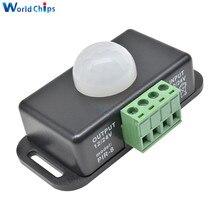 Interruptor de Sensor de movimiento PIR de ajuste automático 24V DC 12V 8A, módulo de interruptor de luz Detector infrarrojo ir para lámpara de tira LED