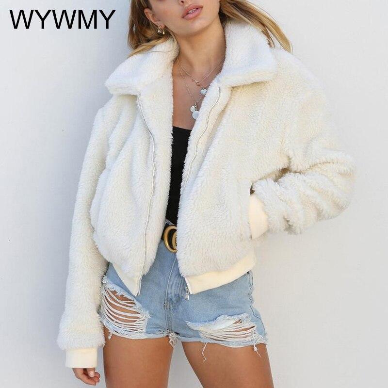 WYWMY Autumn Winter Jacket Women Casual Teddy Bear Coat Ladies Fleece Zip Outwear Jacket Oversized Overcoat Winter Clothing Warm недорого