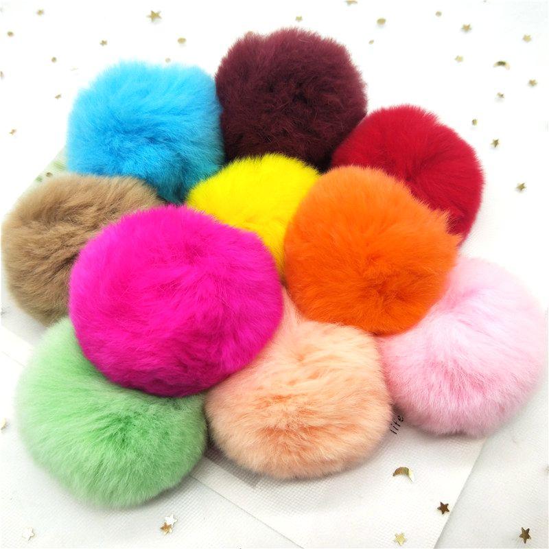 2pcs Real Fur Ball 6cm Pompom Keychain Car Pompon Rabbit Fur Ball Keychain Fur DIY Bag Charms with F