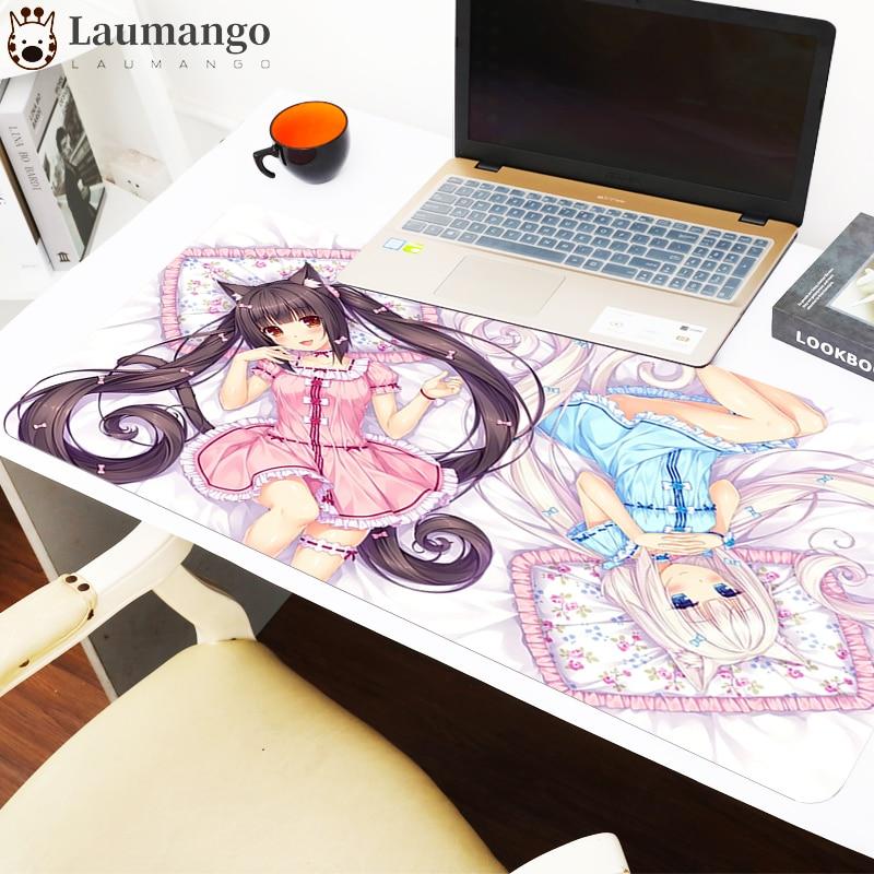 Игровой компьютерный коврик для мыши Nekopara, компьютерный игровой Настольный коврик для клавиатуры, настольные коврики в стиле аниме, милые м...