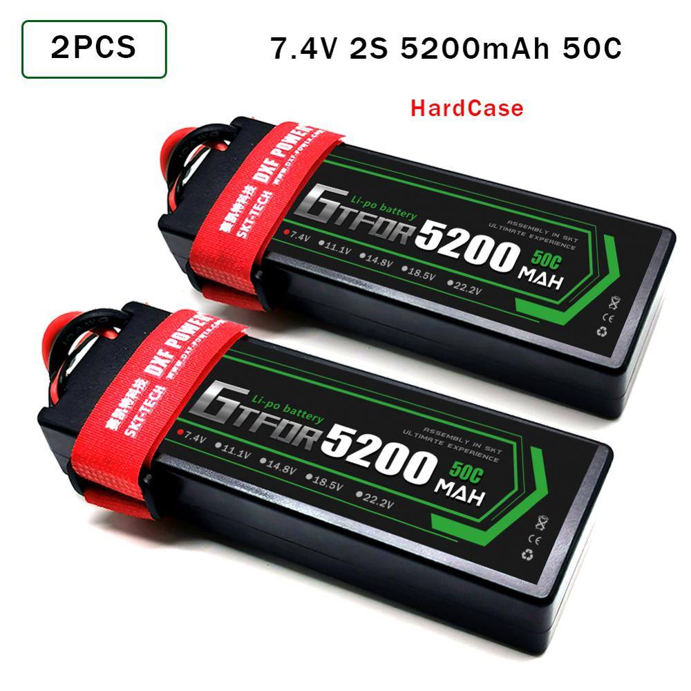 2PCS GTFDR LiPo Battery 2S 7.4V 8000mah 7000mAh 6500mah 5200mah 110C 60C 50C HardCase For 1/8 1/10 RC Car Slash Emaxx enlarge