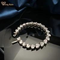 wong rain 925 sterling silver lover heart created moissanite diamonds elegant romantic women bracelets bangle fine jewelry gifts