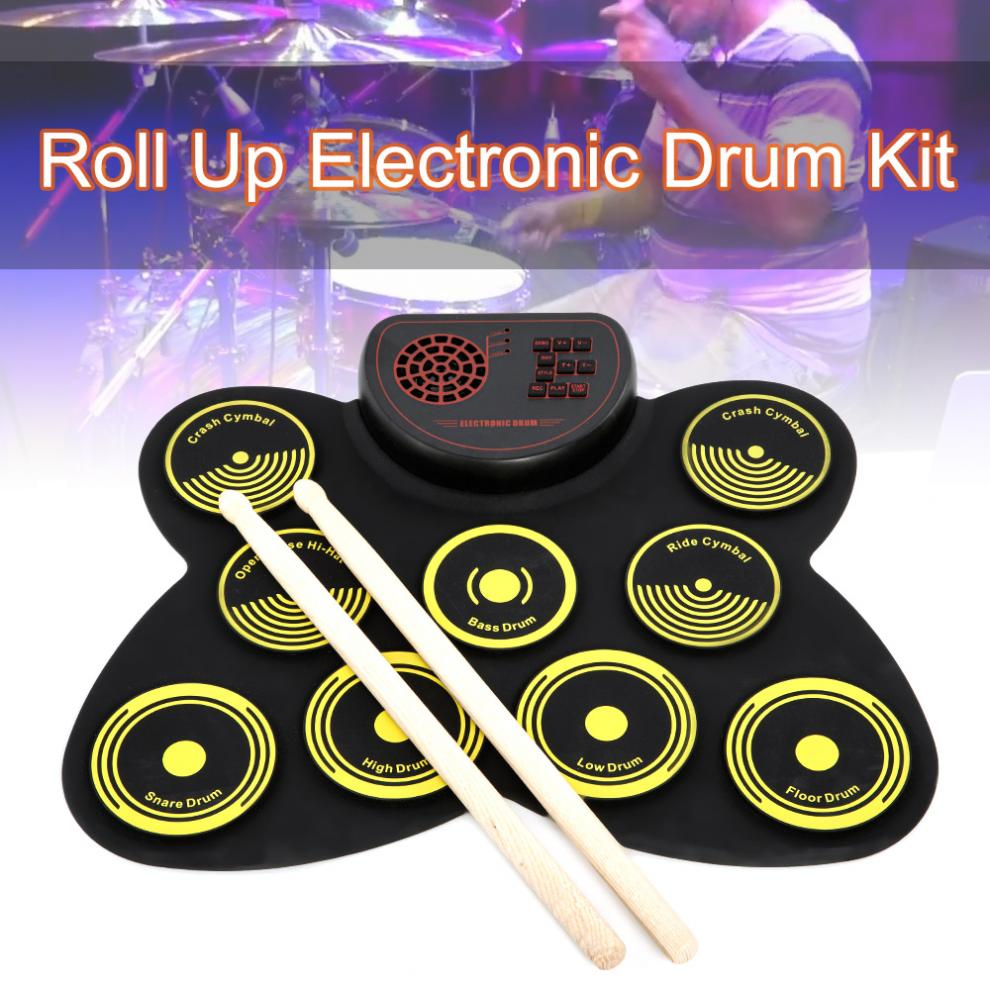 Electronic Roll up Drum 9 Pads Thicken Silicone Built in Speakers Electric Drum Kit with Drumsticks and Sustain Pedal enlarge