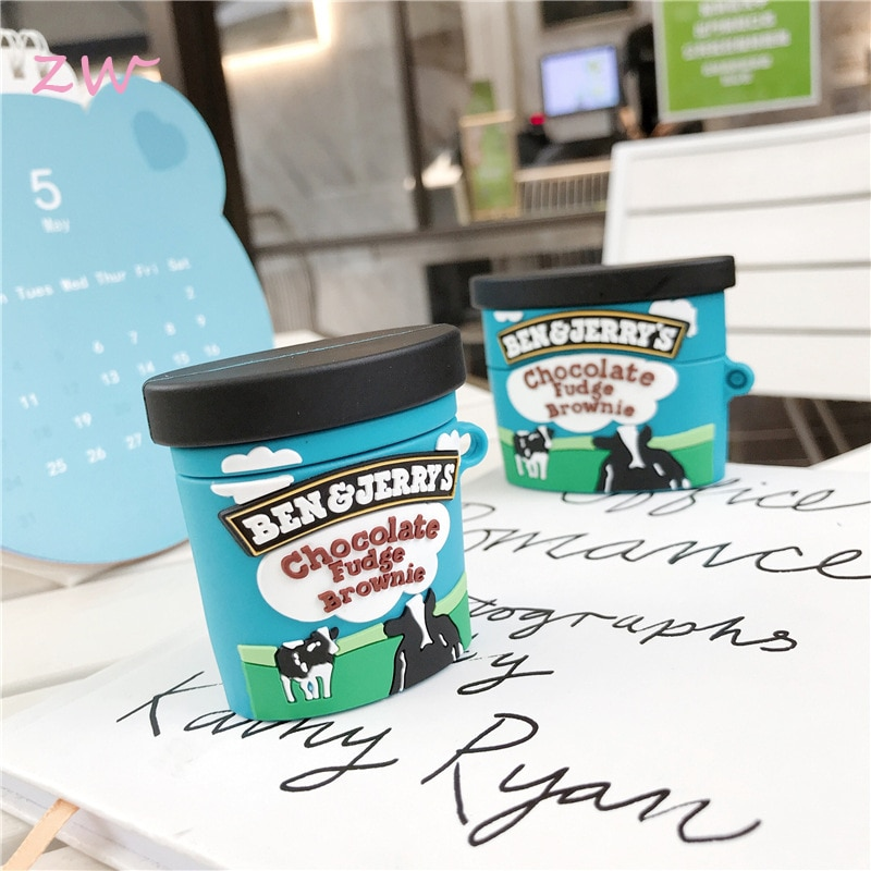 Funda de helado de chocolate 3D para airpods 1 2 pro caja de carga Auriculares inalámbricos con bluetooth de silicona suave llavero de protección