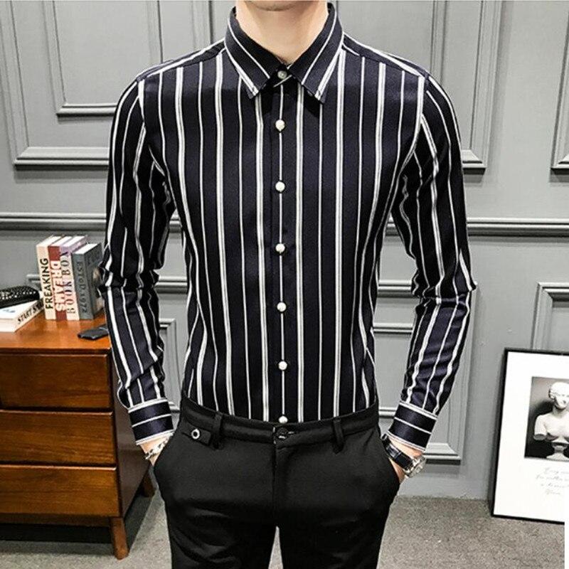 Button Newest Shirts Mens Casual Shirt Striped Printed Brand Long Sleeve Slim Fit Floral Social Club Men Dress