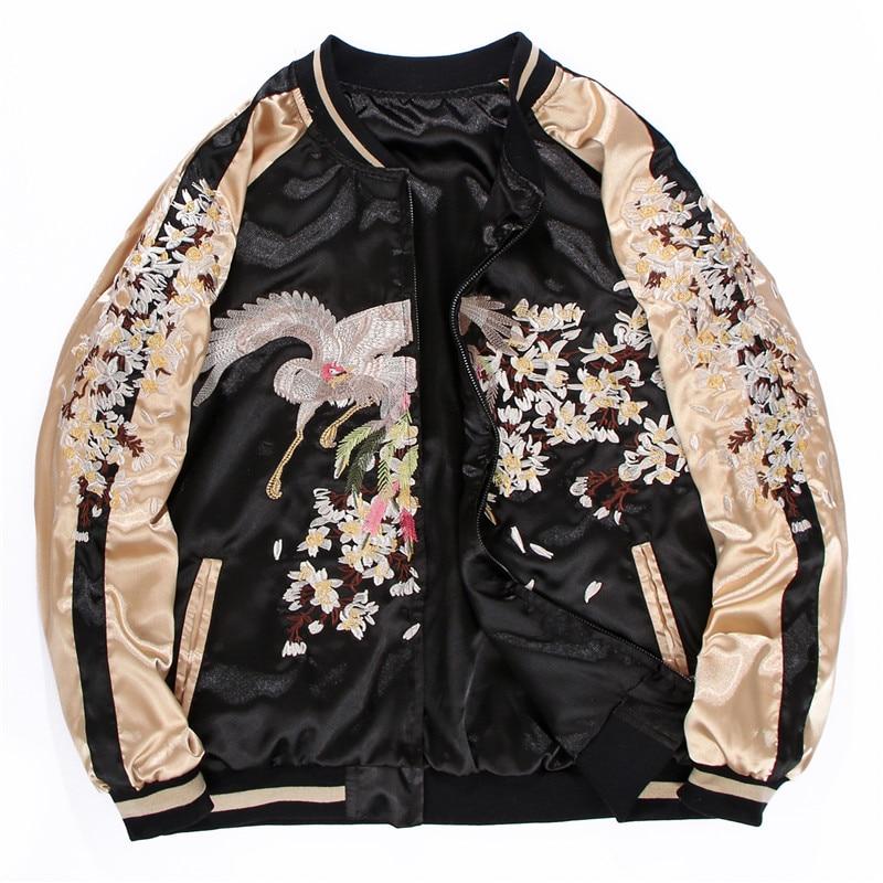 الجانبين ارتداء الفاخرة زهرة فينيكس التطريز سترة السلس الرجال Yokosuka تذكارية ربيع الخريف البيسبول فضفاض معاطف