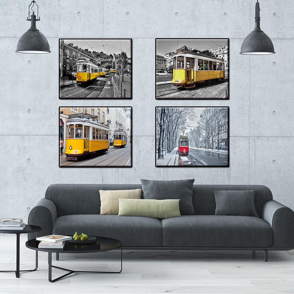 Minimalista moderno pintura en lienzo de la ciudad Retro negro y blanco amarillo coche Tram Wall Art Poster Living imágenes para decoración para habitación
