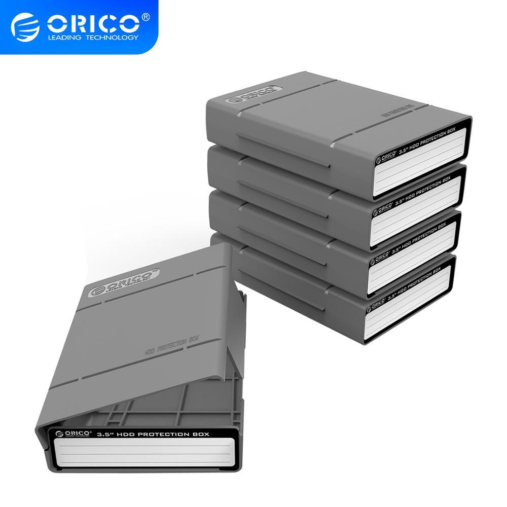 ORICO 5 Bay, caja protectora de 3,5 pulgadas, caja de almacenamiento para disco duro (HDD) o SDD con función impermeable, 5 unids/lote