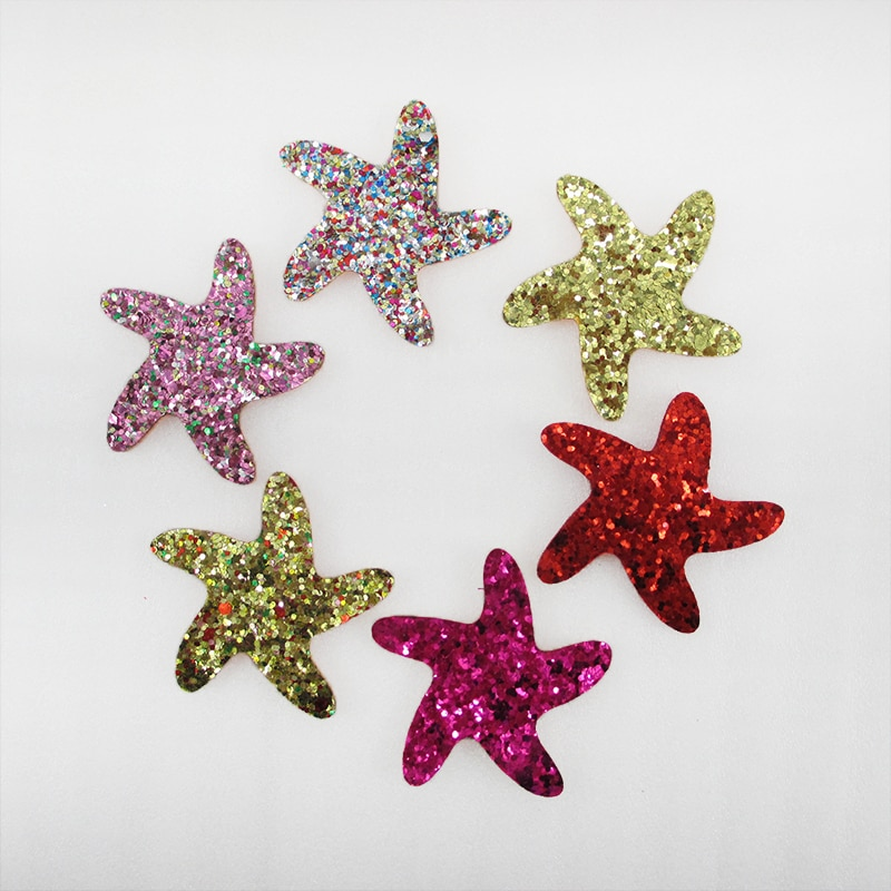 Accesorios David 10 unids/lote 35mm estrella de mar brillo parche bordado de lentejuela accesorios para el cabello hágalo usted mismo hecho a mano materiales 10Yc10240
