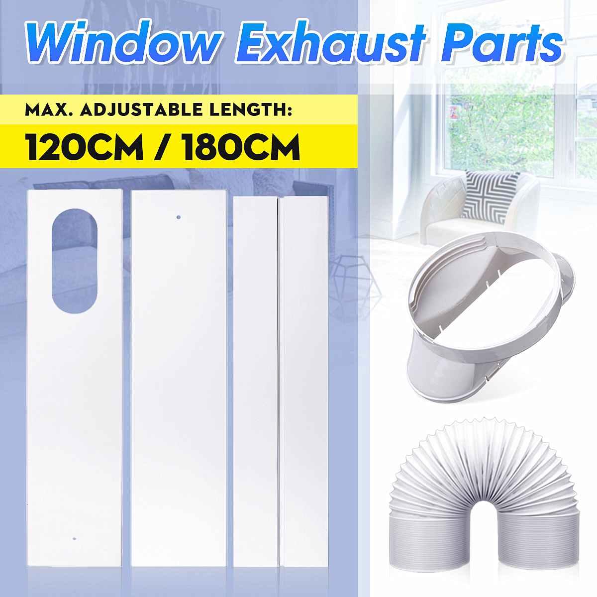 Tubo de escape para ventana, placa deslizante, sello de bloqueo de ventana ajustable para aire acondicionado móvil, accesorios de aire acondicionado DIY para hogar