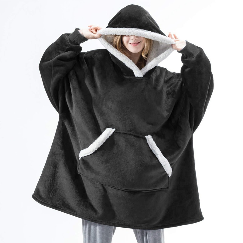 aliexpress.com - Soft Hooded Blanket Adult Winter Plush Fleece Wearable TV Blanket With Sleeves Warm Sherpa Weighted Flannel Blanket Hoodie