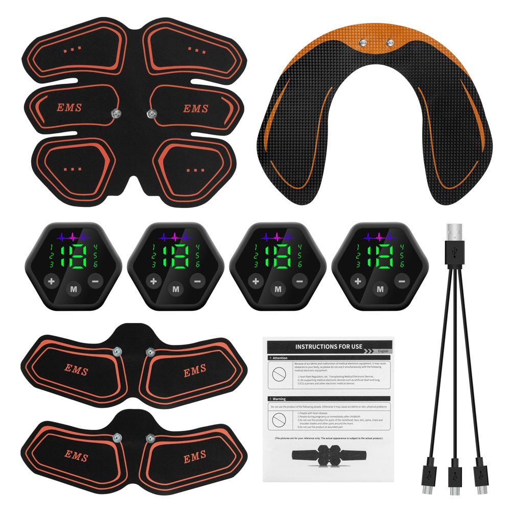 Muscle Stimulator EMS Abdominal Hip Trainer LCD Display Toner USB Abs Fitness Training  Home Gym Weight Loss Body Slimming fitpad smart abs training multi function ems muscle stimulation hous abdominal muscles intensive training loss slimming massager