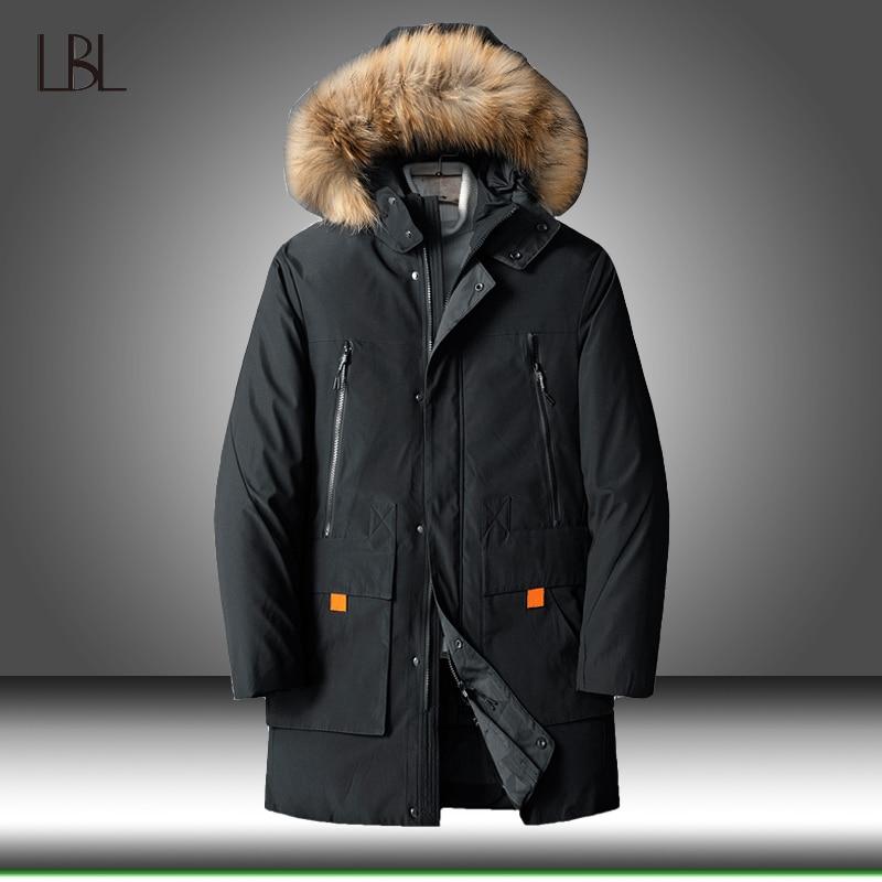 90% Down Jackets Men Winter Jacket Mens Fashion Thick Warm Parkas Fur White Duck Down Coats Casual Male Outdoor Windbreaker 8XL