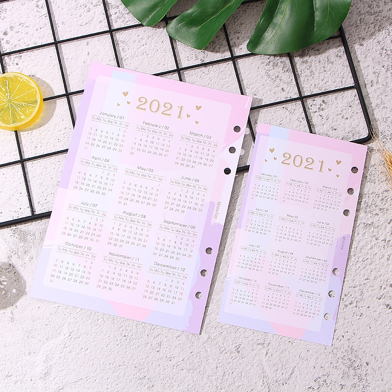Pink 6 Holes Card Paper 2021 Calendar Index Divider for 6 Holes Diary Binder Month Planner Notebooks A5 A6 Chedule Inner Page