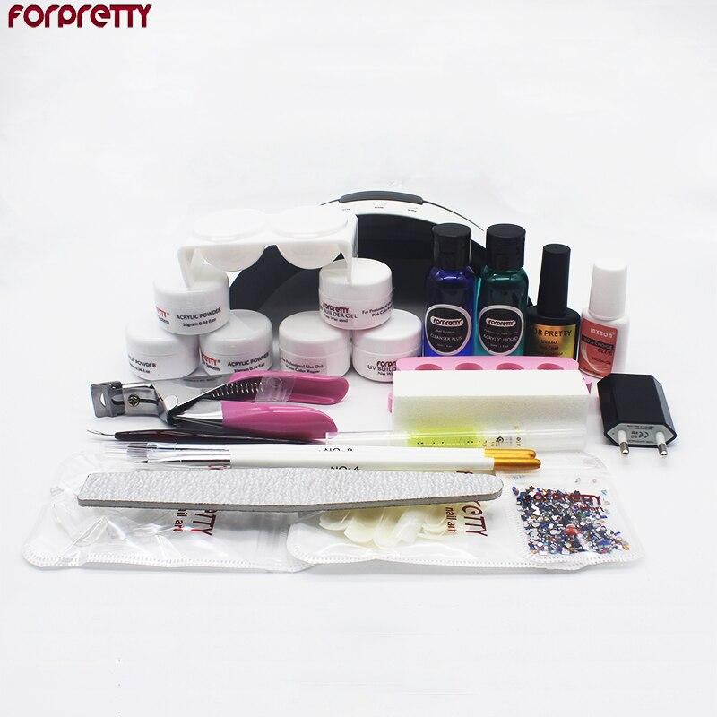 Kit de unhas acrílicas para manicure, kit de manicure em gel uv, kits unha com lâmpada ongel en extenstion de unhas en com secadora de acrílico conjunto iniciante