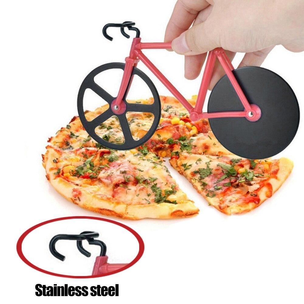 Bicicleta Pizza de Pizza cortador de plástico de acero inoxidable bicicleta rodillo para Pizza helicóptero cortadora cocina Gadge Pizza Accesorios