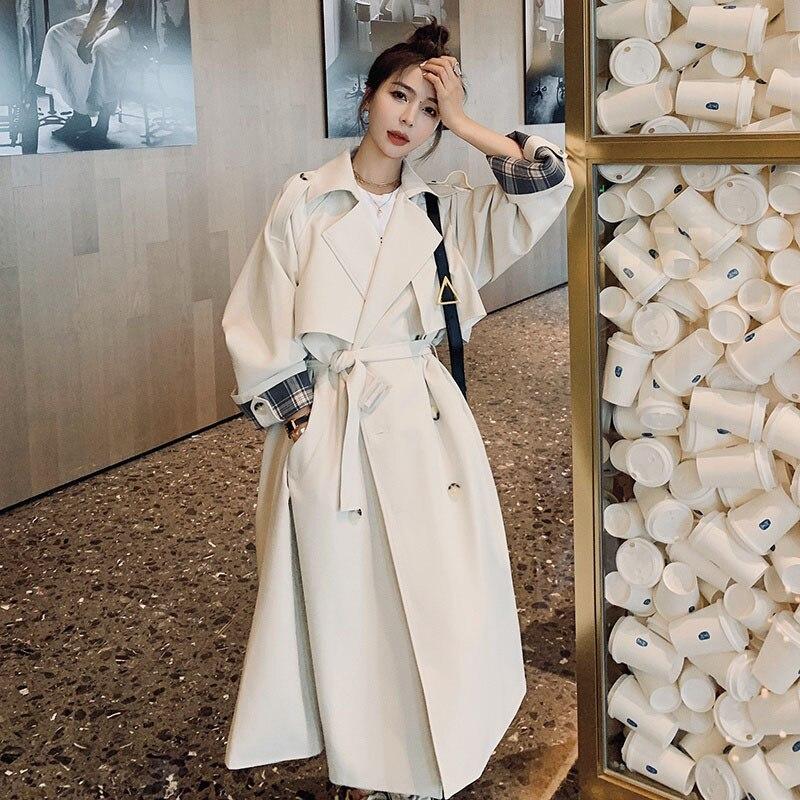 بدوره أسفل طوق منتصف طول المرأة سترة واقية 2021 الخريف الكورية نمط مزاجه مزدوجة الصدر طويلة المرأة خندق معطف