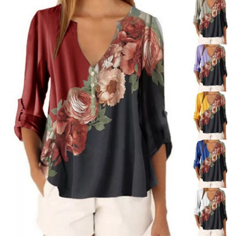 2021 autumn winter hot sale V-neck floral print loose long-sleeved pullover womens shirt chiffon